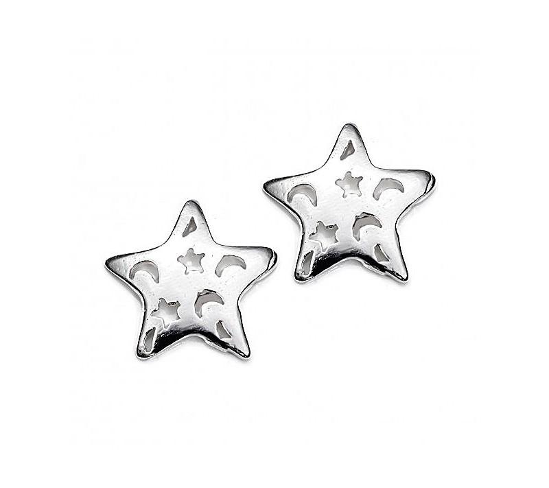 Pendientes Estrella Calada Plata