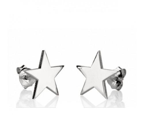 Pendiente Estrella Lisa Plata de Ley